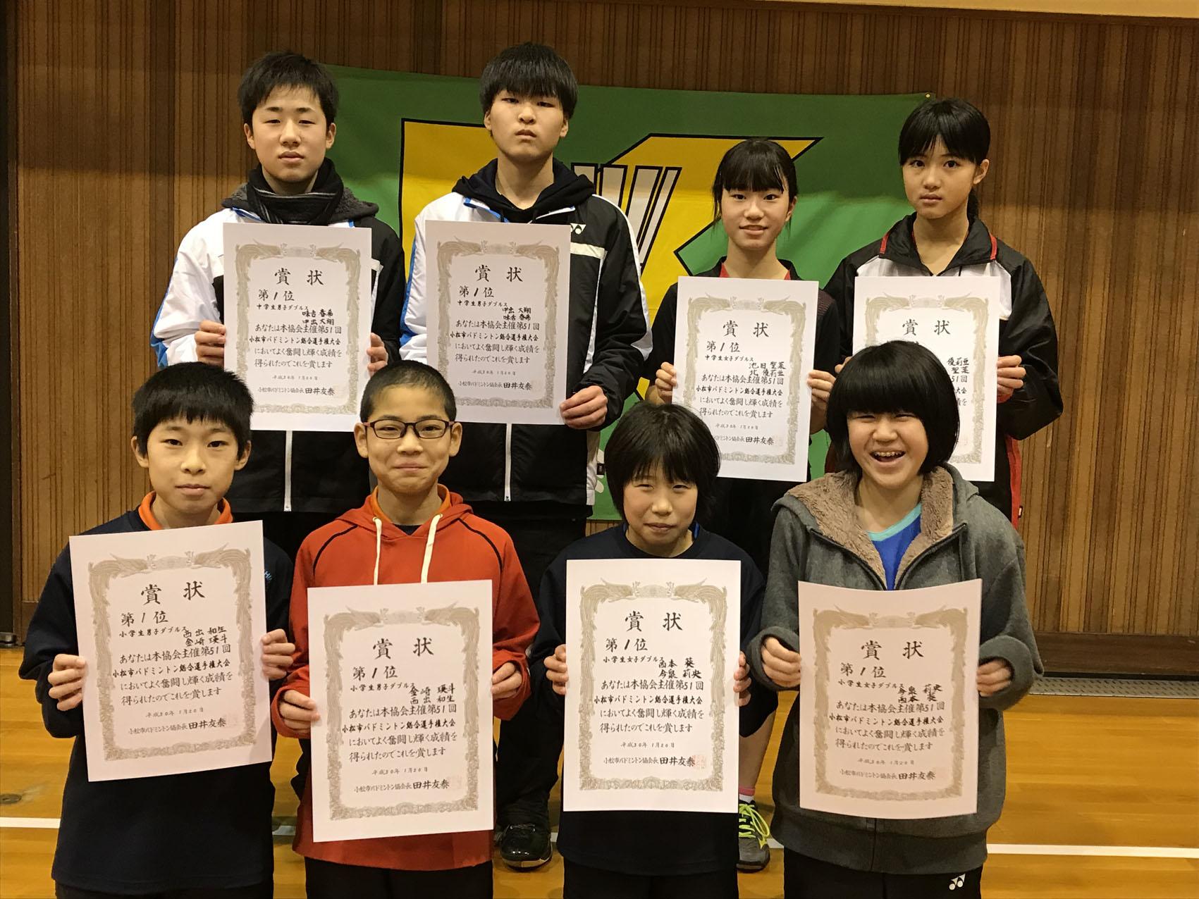 H29年度第51回市選手権大会【小・中学校/ダブルスの部】2018年1月20日